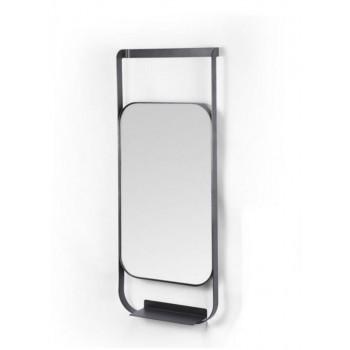 Зеркало с полочкой в черной металлической раме Клайд