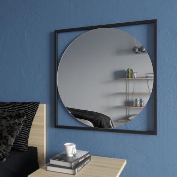 Круглое зеркало в квадратной черной металлической раме Квадрум