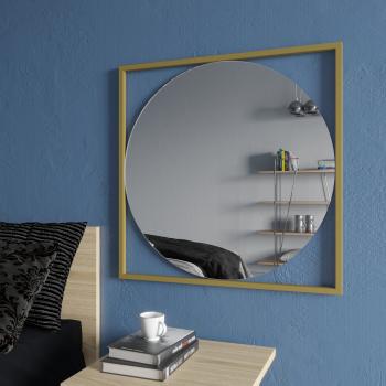 Квадратное зеркало в золотой металлической раме Квадрум