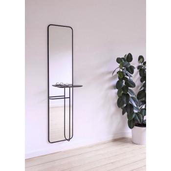 Зеркало с полкой в металлической черной раме Линеа