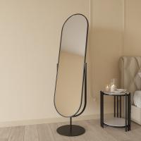 Овальное напольное поворотное зеркало на подставке в чёрной металлической раме Мариус