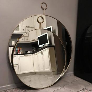 Круглое зеркало с кольцом в металлической раме Майра Бронза
