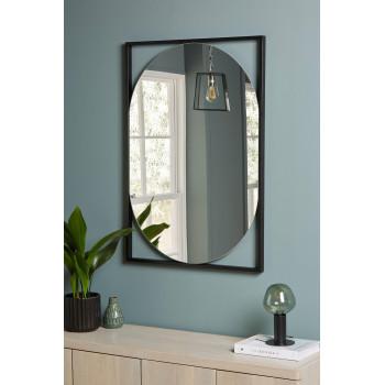 Овальное настенное зеркало в металлической черной раме Медея