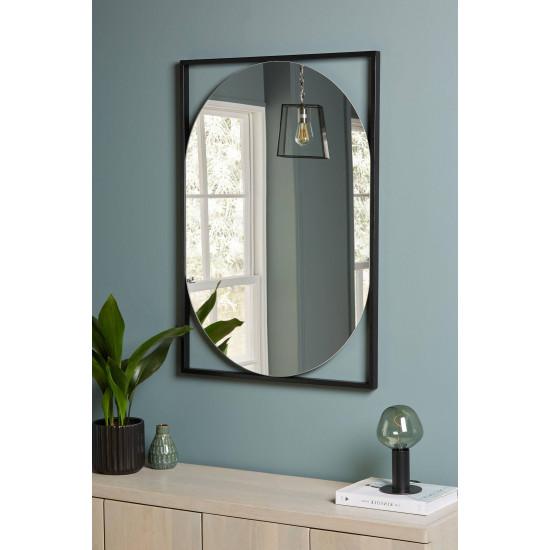Овальное настенное зеркало в металлической черной раме Медея в интернет-магазине ROSESTAR фото