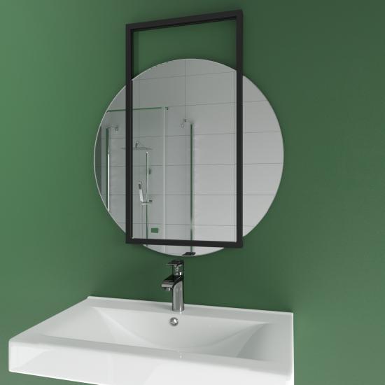 Круглое зеркало в черной декоративной металлической раме Мэлори