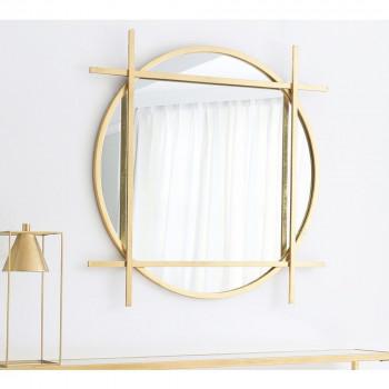 Круглое зеркало в золотой декоративной металлической раме Мэрил