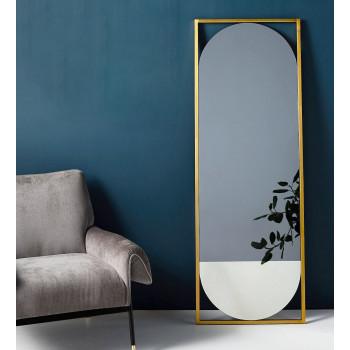 Овальное напольное двуцветное зеркало в металлической золотой раме Мидвилл