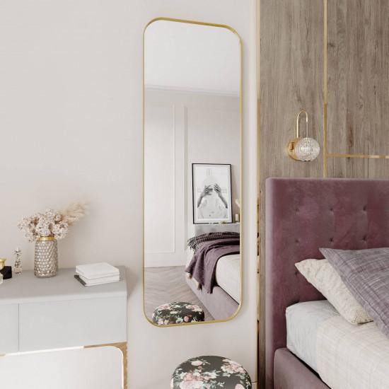 Зеркало в тонкой металлической золотой раме со скругленными углами Милтон