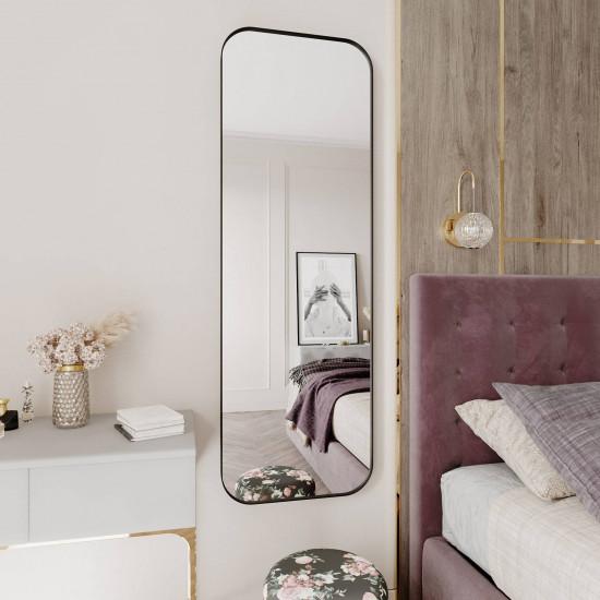 Зеркало в тонкой металлической черной раме со скругленными углами Милтон