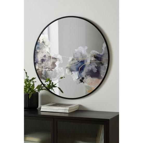 Круглое зеркало в черной металлической раме Мирада D75 в интернет-магазине ROSESTAR фото