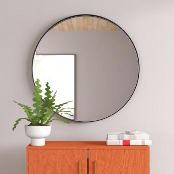 Круглое зеркало в черной металлической раме Мирада D100