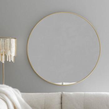 Круглое зеркало в золотой металлической раме Мирада D100