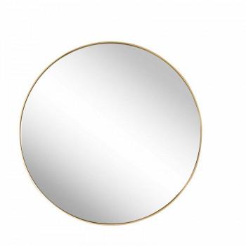 Круглое зеркало в золотой металлической раме Мирада D75