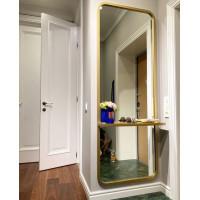 Настенное зеркало в полный рост с полкой Мирра Золото