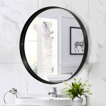 Круглое зеркало в черной тонкой металлической раме Неола