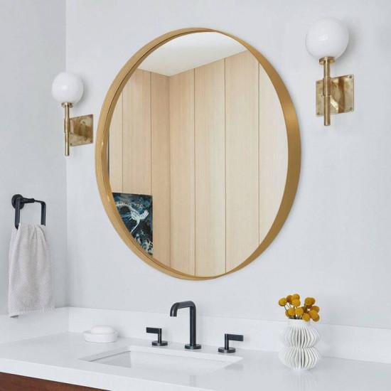 Круглое зеркало в тонкой золотой металлической раме Неола