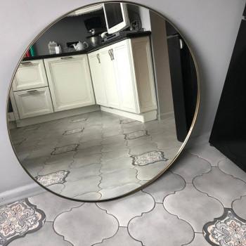 Круглое зеркало в металлической раме Ноул Бронза