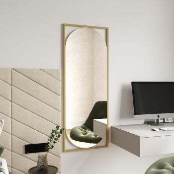 Овальное настенное зеркало в золотой металлической раме Роэль