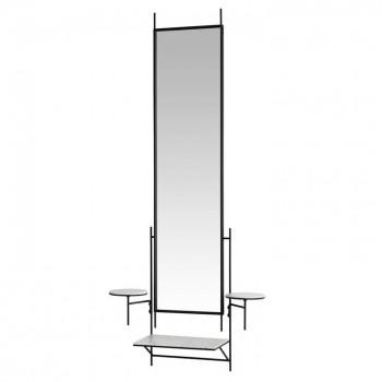Зеркало с полочками в черной металлической раме Дилман