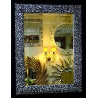 Интерьерное зеркало в багете «Жизель» Чернёное Серебро