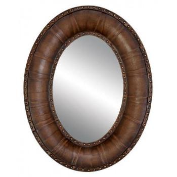 Овальное зеркало в мягкой раме из экокожи «Марьяна»