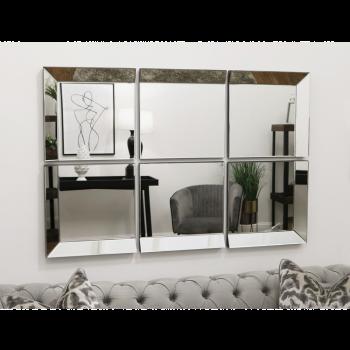 Венецианское зеркальное панно из 6-ти частей в зеркальной раме