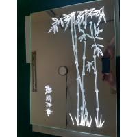 Зеркальное панно с пескоструйным рисунком и подсветкой Бамбук