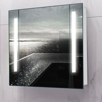 Зеркальный шкаф в ванную навесной с подсветкой «Сиена» 80