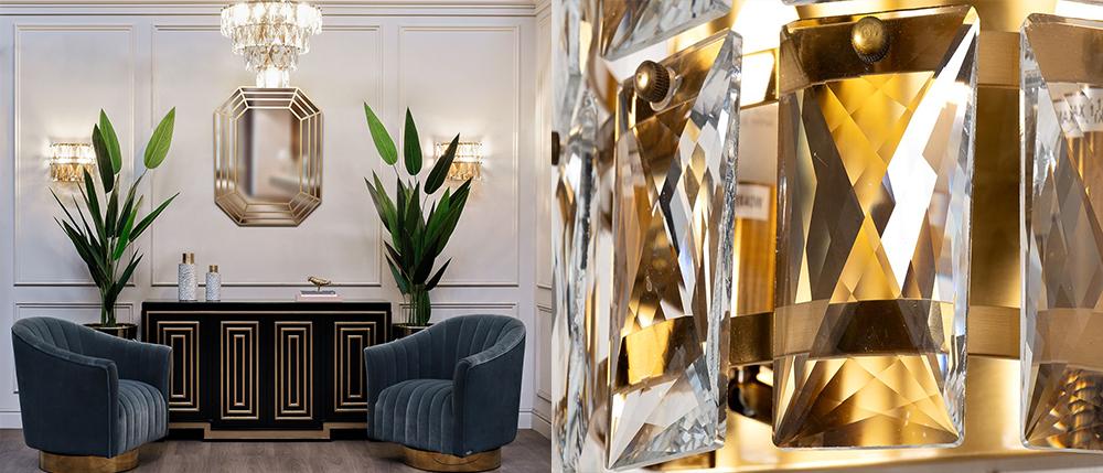 Бра и люстра с кристаллами в латунном обрамлении для гостиной