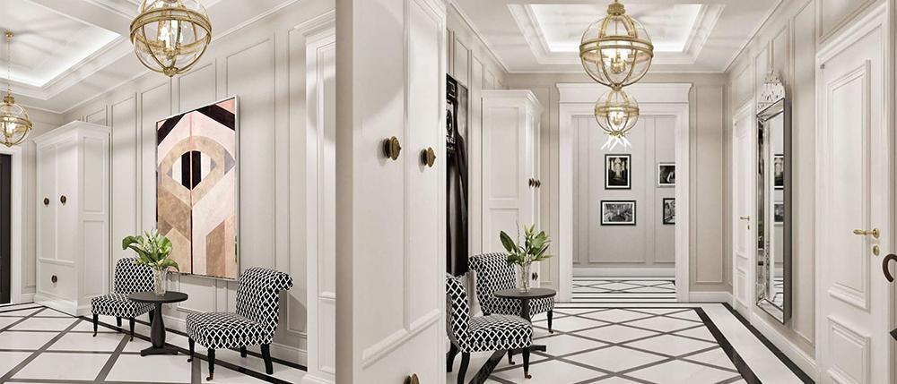Два одинаковых потолочных светильника в коридоре